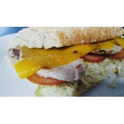 PORK LOIN BAGUETTE WITH CHEESE